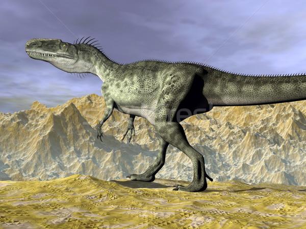 Monolophosaurus dinosaur in the desert - 3D render Stock photo © Elenarts