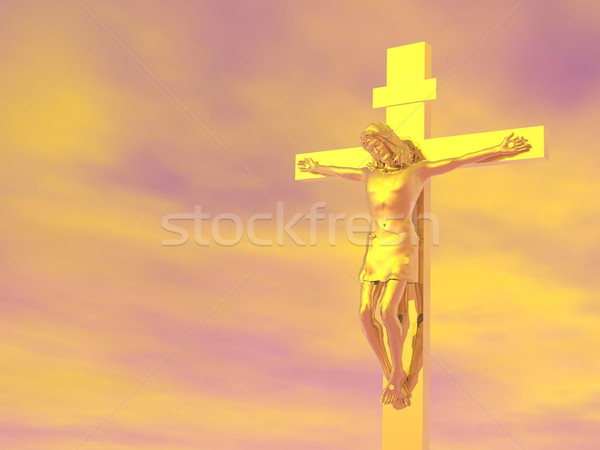 Golden cross - 3D render Stock photo © Elenarts