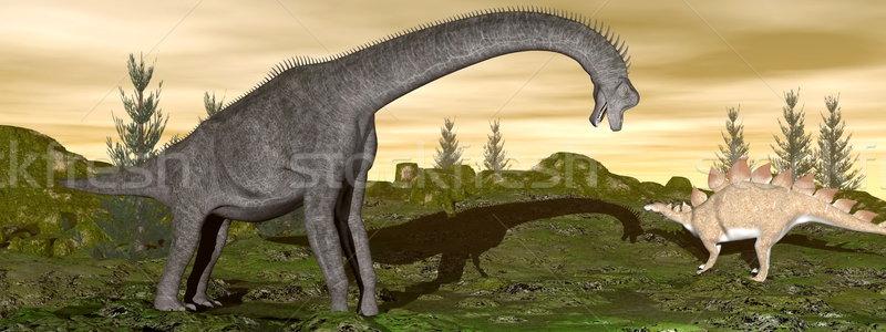 Brachiosaurus and stegosaurus dinosaurs- 3D render Stock photo © Elenarts