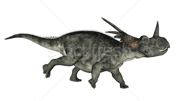 Styracosaurus dinosaur running - 3D render Stock photo © Elenarts