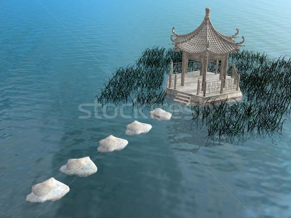 Steps to gazebo - 3D render Stock photo © Elenarts
