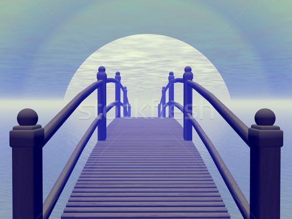Bridge to blue sun - 3D render Stock photo © Elenarts