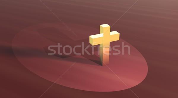 Złota krzyż widok z lotu ptaka brązowy dziedzinie żółty Zdjęcia stock © Elenarts