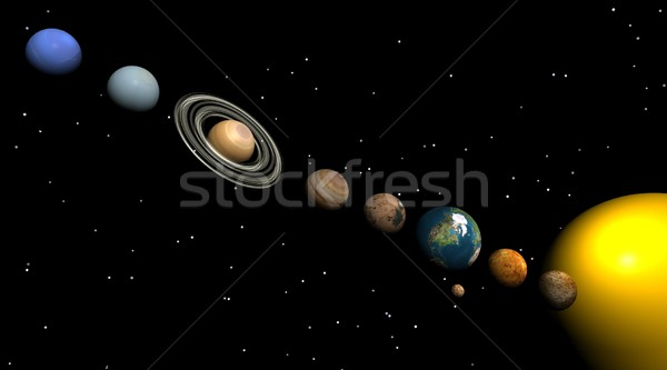 Sistemul solar noapte planete soare Lună Imagine de stoc © Elenarts