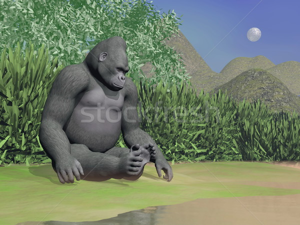 Gorilla thinking next to water - 3D render Stock photo © Elenarts