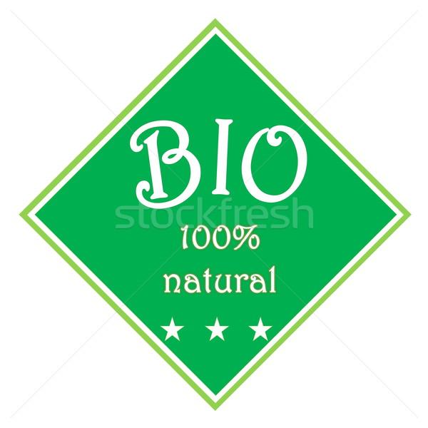 Bio étiquette vert 100 naturelles trois Photo stock © Elenarts