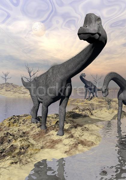 Brachiosaurus dinosaurs near water - 3D render Stock photo © Elenarts
