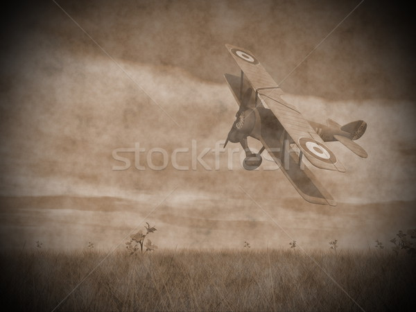 Biplane flying - 3D render Stock photo © Elenarts