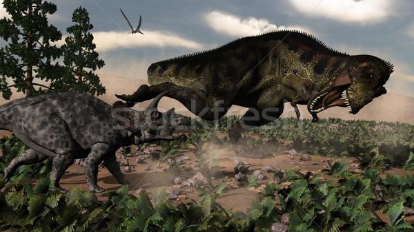 Tyrannosaurus rex roaring at a triceratops - 3D render Stock photo © Elenarts