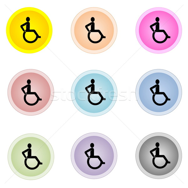 Coloré boutons handicap signe neuf Photo stock © Elenarts