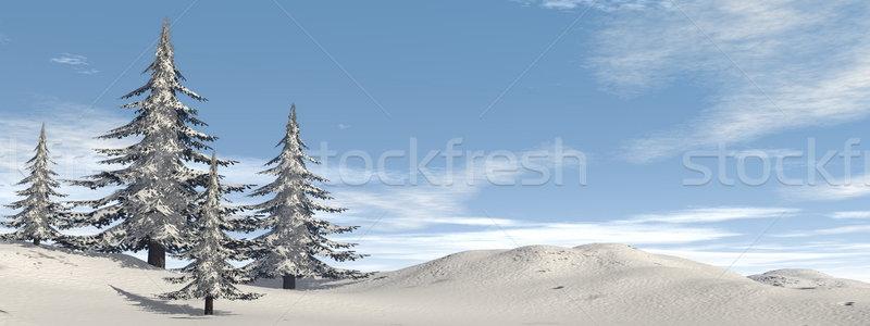 зима ель деревья пейзаж 3d визуализации закат Сток-фото © Elenarts