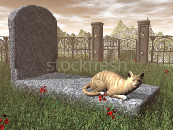 Kot nagrobek 3d wygaśnięcia świetle miłości Zdjęcia stock © Elenarts