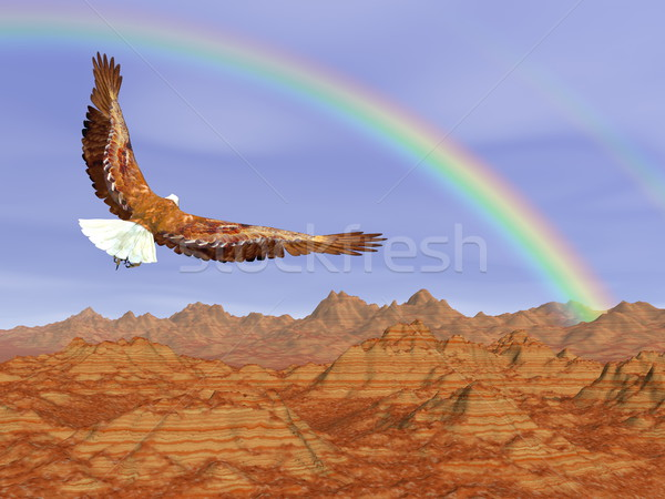 Bald eagle flying upon rocky mountains to the rainbow - 3D render Stock photo © Elenarts