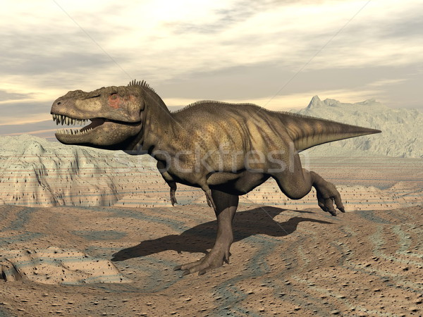 Tyrannosaurus running - 3D render Stock photo © Elenarts