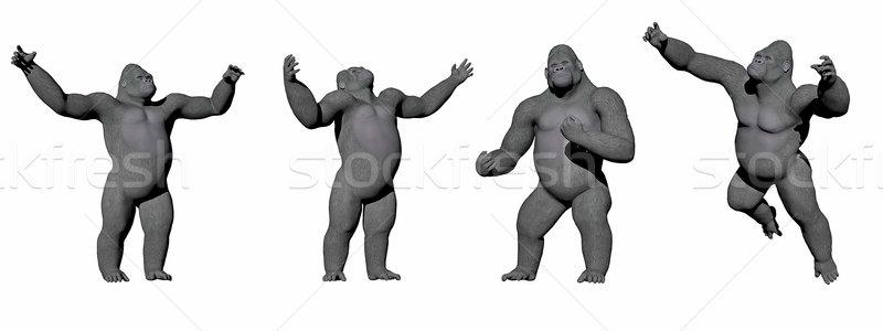 Felfelé 3d render négy különböző pozíciók fehér Stock fotó © Elenarts