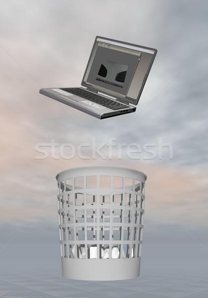 Laptop Abfall 3d render grau Business Stock foto © Elenarts