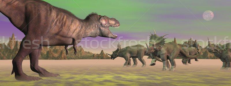 Tyrannosaurus attacking styracosaurus - 3D render Stock photo © Elenarts
