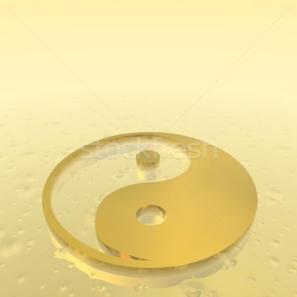 Golden yin yang symbol - 3D render Stock photo © Elenarts