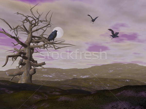 Dead tree and crows raven by night - 3D render Stock photo © Elenarts