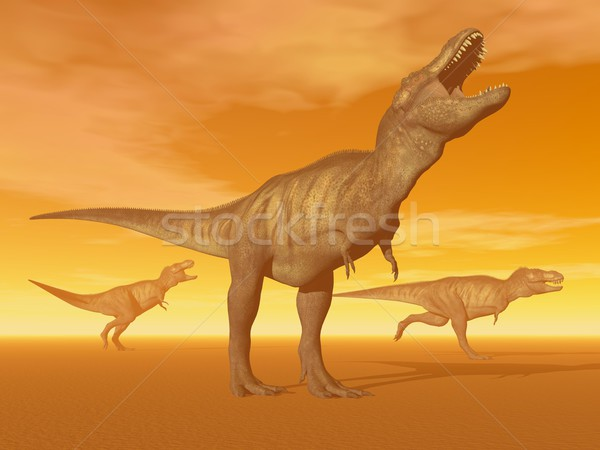 Tyrannosaurus dinosaurs in the desert - 3D render Stock photo © Elenarts