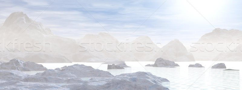 Icebergs - 3D render Stock photo © Elenarts