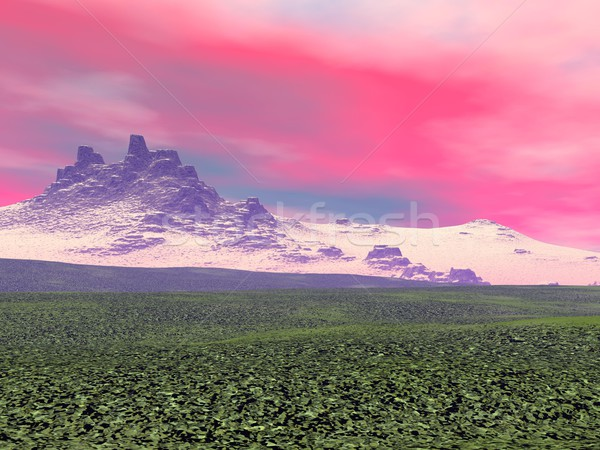 Mountain by sunset - 3D render Stock photo © Elenarts