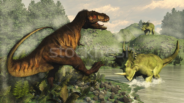 Tyrannosaurus rex fighting against styracosaurus dinosaur - 3D render Stock photo © Elenarts
