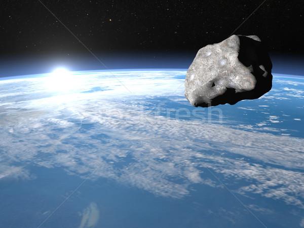 Göktaşı 3d render meteor toprak gündoğumu zaman Stok fotoğraf © Elenarts