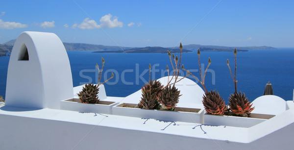 Foto stock: Varanda · santorini · Grécia · ver · vulcão · branco