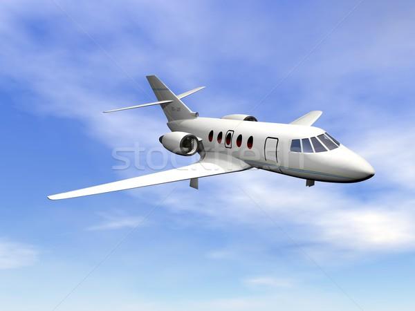 Privatjet Flugzeug 3d render unter bewölkt blauer Himmel Stock foto © Elenarts