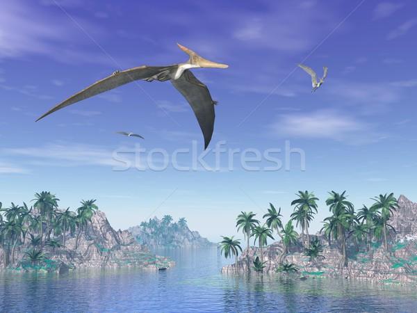 Pteranodon birds  - 3D render Stock photo © Elenarts