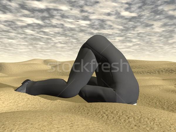 Affaires tête sable rendu 3d désert nuageux Photo stock © Elenarts