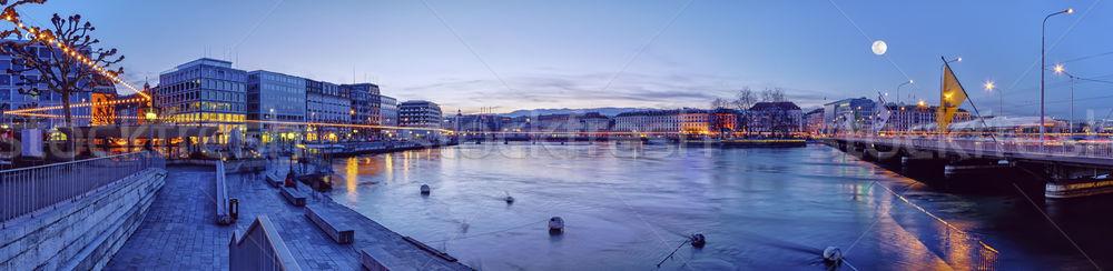 Mont-Blanc bridge and Rhone river, Geneva, Switzerland Stock photo © Elenarts