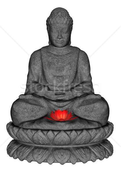 Kő Buddha 3d render meditál kicsi lótuszvirág Stock fotó © Elenarts