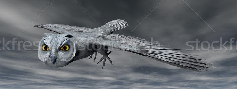 совы 3d визуализации Flying ночь небе глаза Сток-фото © Elenarts