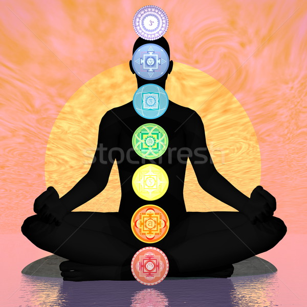 Seven chakra symbols column on black human being by sunset - 3D render Stock photo © Elenarts