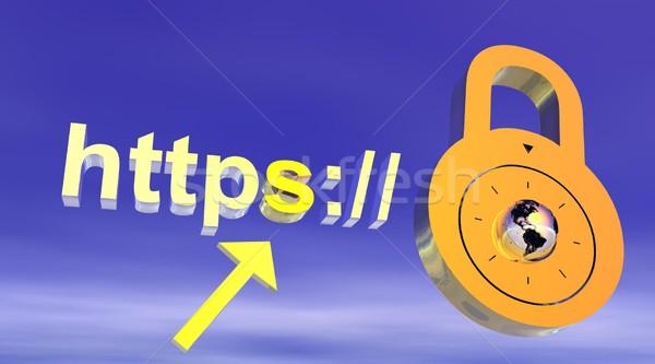 интернет безопасного адрес замок компьютер фон Сток-фото © Elenarts