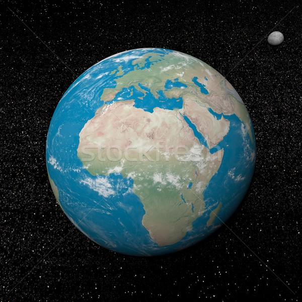 Stock photo: Earth and moon planets and stars - 3D render