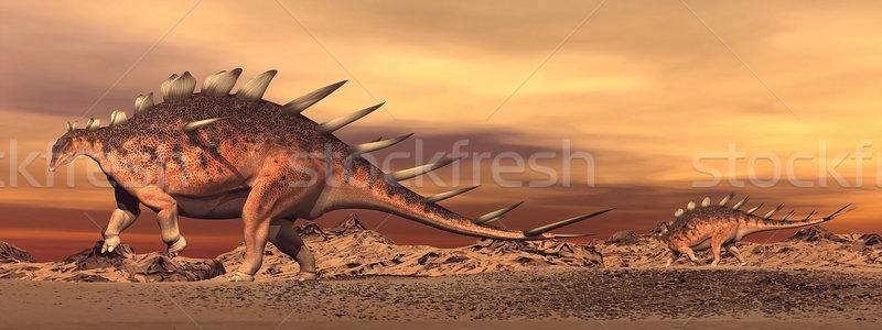 Kentrosaurus dinosaurs mum and baby - 3D render Stock photo © Elenarts