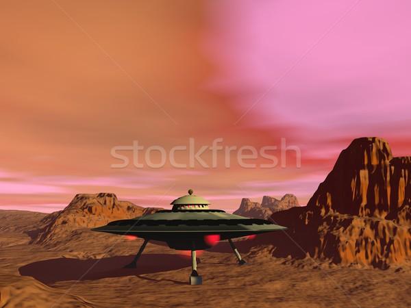 Ufo 3d render luzes deserto paisagem fundo Foto stock © Elenarts