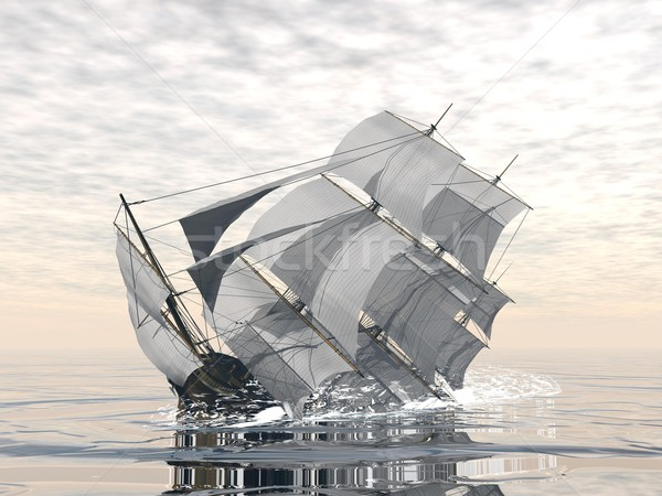 Stock photo: Old ship sinking - 3D render
