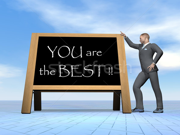 ビジネスマン ことわざ ベスト 3dのレンダリング 立って 黒板 ストックフォト © Elenarts