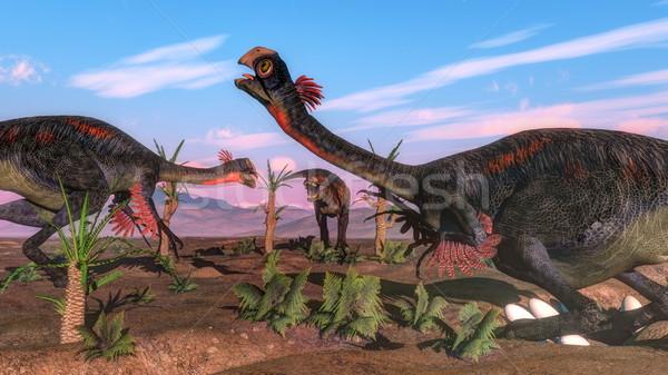 Tyrannosaurus rex attacking gigantoraptor dinosaur and eggs - 3D render Stock photo © Elenarts