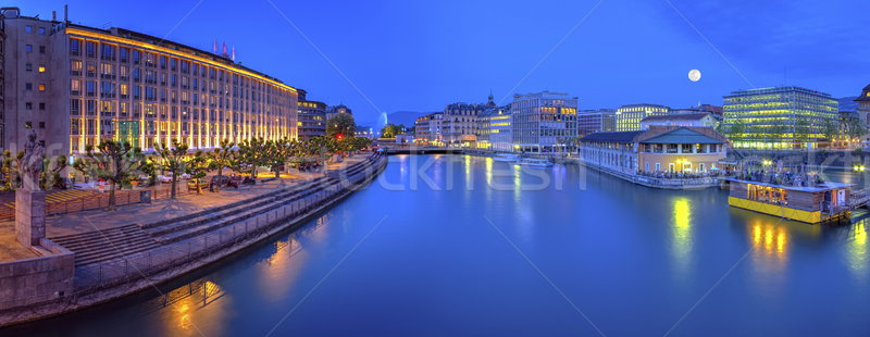 Urban view with famous fountain and Rhone river, Geneva, Switzerland, HDR Stock photo © Elenarts