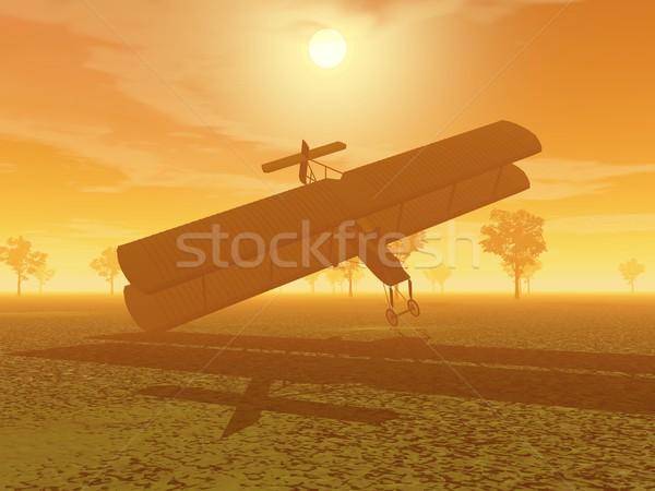 Kétfedelű repülőgép csattanás 3d illusztráció természet narancs naplemente Stock fotó © Elenarts