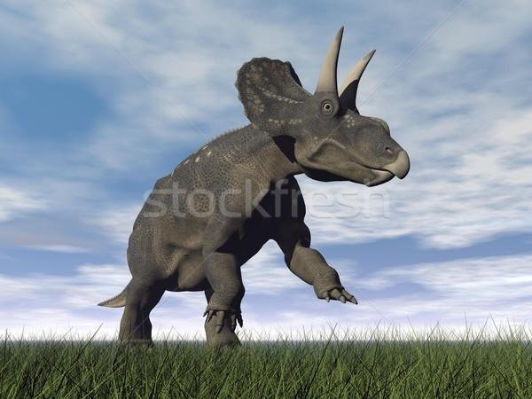 Diceratops dinosaur - 3D render Stock photo © Elenarts