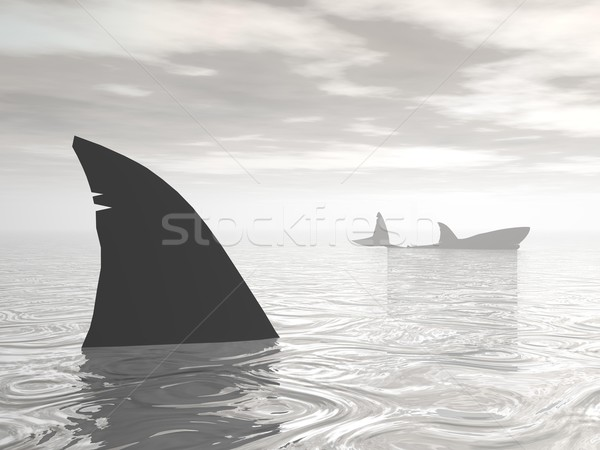 Sharks in the ocean - 3D render Stock photo © Elenarts