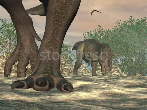 恐竜 フィート 3dのレンダリング 自然 デザイン ストックフォト © Elenarts