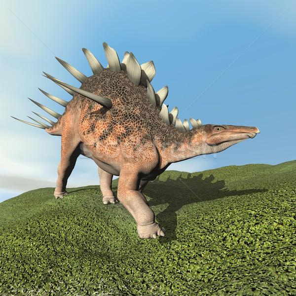 Foto stock: 3d · render · dinossauro · caminhada · grama · dia · céu