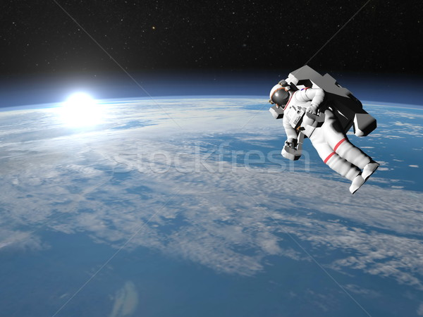 Astronaut or cosmonaut flying upon earth - 3D render Stock photo © Elenarts